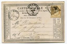 !!! CARTE PRECURSEUR CERES CACHET DE SENS SUR YONNE (YONNE) 1876 - Cartoline Precursori