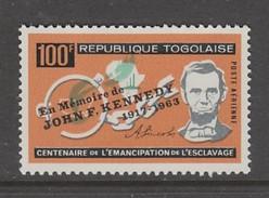 TIMBRE NEUF DU TOGO - MORT DU PRESIDENT JOHN F. KENNEDY N° Y&T PA 43