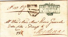 Prefilatelica, Carpi Per Modena. Lettera Raccomandata Con Contenuto 1854 - Modène