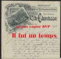 42 - GRANDS CROIX - CH. CHAVASSE - Entrepot De La Liqueur Et De L'eau D'Arquebuse De Valfleury   - 1893 + Autographe - France