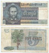 Birmania - Burma 5 Kyats 1973 Pick 57 Ref 180-2 - Myanmar