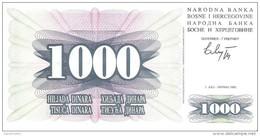 Bosnia And Herzegovina - Pick 15 - 1000 Dinara 1992 - Unc - Bosnie-Herzegovine