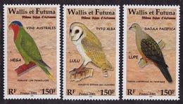 Wallis & Futuna (Sc# 544a-d), MNH, (Set Of 3)  BIRDS (2001)2s - Guam