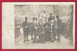 Carte Photo Militaria - Servants Près D'une Pièce D'artillerie - Matériel