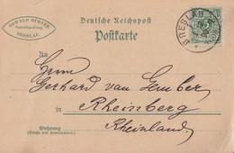DR Karte EF Minr.46 K1 Breslau 1.12.1890 Gel. Nach Rheinberg Ansehen !!!!!!!!!! - Deutschland