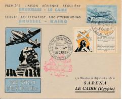 SABENA - Premier Vol Bruxelles - Le Caire 16-6-1947 - Inscription Arabe - Airmail