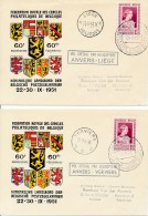 2 Vol Spéciaux Par Hélicoptère 60 Ans FRCPB Du  25-9-1951 An-vers Liège Et Anvers Verviers - Vdb 530E & F - Hiller 3 - Airmail