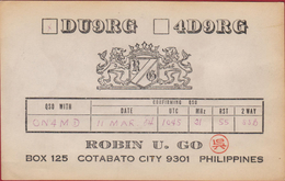 QSL Card Amateur Radio Station Filipijnen Filipinas Philippines Philippinen Cotabato City 1984 Long Island California DX - Radio Amatoriale
