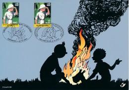 2001 - Carte Souvenir émission Commune Tintin Au Congo  - Rep. Dem. Du Congo & Belgique - Maximum Cards
