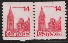 CANADA 1977 SCOTT 730** COIL PAIR - 1952-.... Reign Of Elizabeth II