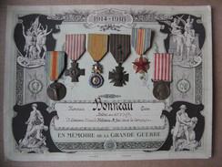 Guerre De 1914-1918 Carton Imprimé Avec 6 Médailles Militaires Soldat Du 65ème Régiment D'infanterie - Frankreich