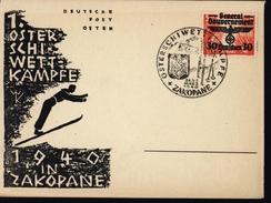 Carte Guerre 39/45 YT Pologne 40 Occupation Allemande Sports D'hiver Ski Gouvernement Général Jeux 1940 In Zakopane - Algemene Overheid