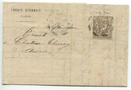 N°80 + Essai  Cachet En Scie Circulaire / Lettre De Paris  Pour Chateau Thierry (aisne) - 1876-1898 Sage (Type II)