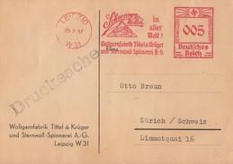DR Karte Maschinenstempel Leipzig 26.2.37 Schwanen-Wolle In Aller Welt Gel. In Schweiz - Briefe U. Dokumente