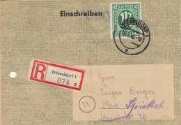 Deutschland RECO-Brief (Versicherungsschein) 1946 Mit 42 Pfg Frankierung, Stempel Düsseldorf Gel.n. Kleve, Beleg Gelocht - American,British And Russian Zone
