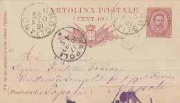 ITALIEN 1893 - 10 C Ganzsache Auf Pk Gel.v.Rogliano > Napoli - 1878-00 Humbert I.