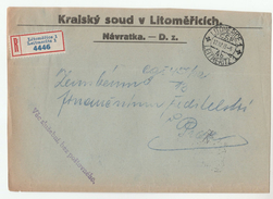 1928 Registered CZECHOSLOVAKIA OFFICIAL Mail COVER LITOMERICE DISTRICT COURT Stamps - Covers & Documents