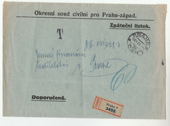 1929 Registered CZECHOSLOVAKIA PRAHA  DISTRICT CIVILIAN COURT Mail COVER  Stamps - Covers & Documents