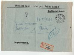 1929 Registered CZECHOSLOVAKIA PRAHA  DISTRICT CIVILIAN COURT Mail COVER  Stamps - Czechoslovakia