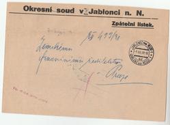 1931 CZECHOSLOVAKIA OFFICIAL Mail COVER JABLONEC DISTRICT COURT Stamps - Tchécoslovaquie