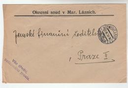 1933 CZECHOSLOVAKIA  OFFICIAL Mail COVER MARIANSKE LAZNE  DISTRICT COURT Stamps - Czechoslovakia