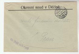 1928 CZECHOSLOVAKIA OFFICIAL Mail COVER  DECIN  DISTRICT COURT  Stamps - Czechoslovakia