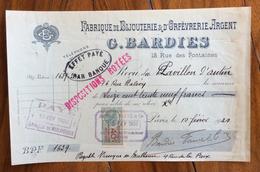 FATTURA PUBBLICITARIA  PARIS G.BARDIES  FABRIQUE DE BIJOUTERIE & ORFEVRERIE ARGENT 1920 Con Marca Da Bollo - Francia