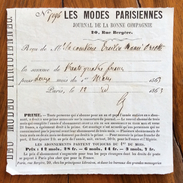 FATTURA PUBBLICITARIA  PARIS JOURNAL LES MODES  PARISIENNES RICEVUTA DI ABBONAMENTO  CONTESSA ERSILIA MANSI ORSETTI 1863 - Francia
