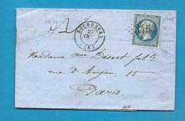 Manche - Sourdeval Pour Paris. GC + CàD Type 15. 1863 - Marcophilie (Lettres)
