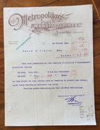 FATTURA PUBBLICITARIA  BRUXELLES. 1908 METROPOLITAN MANOFACTURING - 1900 – 1949