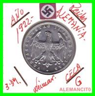 GERMANY - WEIMAR REPUBLIC -  3 Mark  AÑO 1922 -G     Aluminum - [ 3] 1918-1933 : República De Weimar