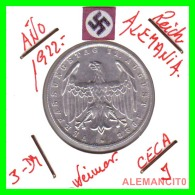 GERMANY - WEIMAR REPUBLIC -  3 Mark  AÑO 1922 -J     Aluminum - [ 3] 1918-1933 : República De Weimar