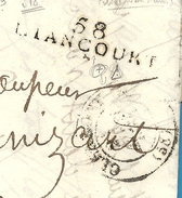 Oise - Liancourt Pour Compiègne; Utilisation D'une Marque Postale Au Lieu D'une Cursive. Peu Courant. 1833 - Postmark Collection (Covers)