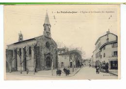 CPA-69-1911-LYON-LE POINT-du-JOUR-L'EGLISE ET LE CHEMIN DES AQUEDUCS-ANIMEE-DES ENFANTS-UN ATTELAGES-MAGASIN-MERCERIE- - Lyon