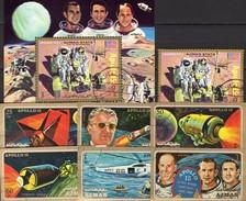 Mondflug Apollo15 USA Raumfahrt-Projekt 1972 Ajman 862/7,1116B+Block 319 O 16€ Astronaut Mondauto Bloc Sheet Bf VAE - Space