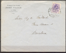 1916 , TARRAGONA , SOBRE CIRCULADO ENTRE LA RIBA Y BARCELONA , AMBULANTE LÉRIDA - TARRAGONA , LLEGADA - Cartas