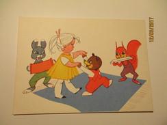 USSR LATVIA BIRTHDAY DANCING BEAR , SQUIRREL WITH HARMONICA , BUNNY ACCORDION     , ARTIST VINDEDZIS  , POSTCARD   ,  0 - Anniversaire
