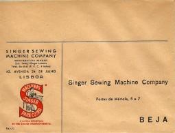 BEJA - SINGER - 170 X 130 - ENVELOPE COMERCIAL - MÁQUINAS DE COSTURA SEWING MACHINE DE COUTURE - ADVERTISING - PORTUGAL - Cartas