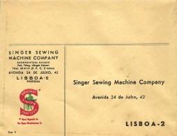 LISBOA - SINGER - ENVELOPE COMERCIAL - MÁQUINAS DE COSTURA - SEWING MACHINE DE COUTURE - ADVERTISING - PORTUGAL - 1910-... République