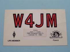 W4JM ( James A. Gundry / Lakeland FL 33803 Polk County ) Anno 1982 ( Zie Foto Voor Details ) !! - Radio Amateur