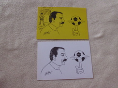 2 CARTES ..ILLUSTRATIONS..SIGNE ELIBY...FC. NANTES - Autres Illustrateurs