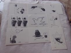 LOT DE 9 CARTES ..ILLUSTRATIONS..SIGNE ELIBY ..AU PROFIT DE MEDECINS DU MONDE - Cartes Postales