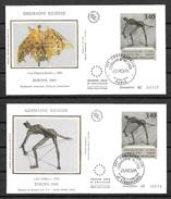 FRANCE FDC 2 Enveloppes EUROPA Art Contemporain Germaine RICHIER 17/04/1993 - FDC