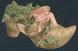 Glückwunschkarte Joyeux Noel, Paix-Confiance, Vers Von St. Francois De Sales, Schuh & Stechpalmenblätter - Old Paper