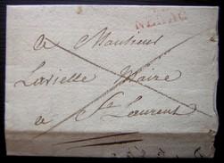 1823 45/ NERAC (Lot Et Garonne) Marque Rouge Sur Lettre Pour Le Maire De Saint Laurent - Postmark Collection (Covers)