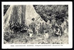 CPA ANCIENNE- ASIE- INDOCHINE- BIENHOA- DELEGATION DE CHUA-CHAN- CAMPEMENT POO- TRES BELLE ANIMATION - Vietnam