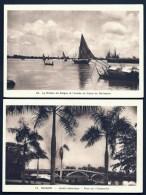 2 CPA ANCIENNES- ASIE- INDOCHINE-  SAÏGON- JARDIN BOTANIQUE ET PONT SUR L'AVALANCHE + RIVIERE ET CANAL AVEC BARQUES- - Vietnam