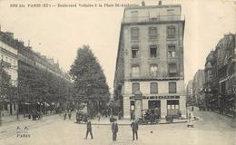 PARIS - Boulevard Voltaire à La Place Saint Ambroise.(banque Société Générale). - Arrondissement: 11