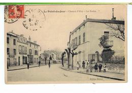 CPA-69-1911-LYON-LE POINT-du-JOUR-CHEMIN D'ALAY-LES ECOLES-ANIMEE-DES ENFANTS DEVANT L'ECOLE-2 CYCLISTES-1 CHARCUTERIE- - Lyon