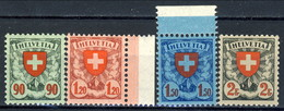 Svizzera 1933 - 34 Serie N. 208A-211A Croce E Scudo, Carta Patinata Goffrata (geriffelt) MNH LUX Cat. € 495 - Nuovi